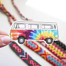 Tie Dye Bus Vinyl Sticker Etsy