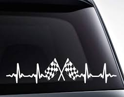 Checkered Racing Flags Ekg Heartbeat Vinyl Decal Sticker