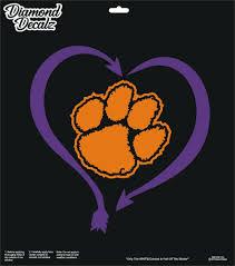 Clemson Tigers University Football Vinyl Decal Paw Heart Car Window Sticker New Diamonddecalz Football Vinyl Decal Car Window Stickers Vinyl Decals