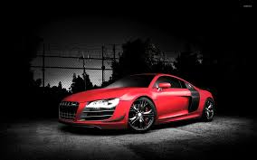 red audi r8 by a fence wallpaper car