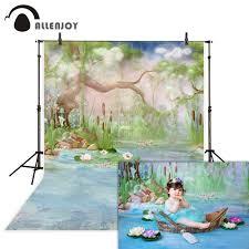 Allenjoy خلفيات للتصوير الفوتوغرافي شجرة نهر لوتس اليراع الأطفال