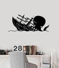 Funny Kraken Vinyl Wall Decal Octopus Ship Wave Nautical Art Stickers Mural Ig5296 Vinyl Wall Decals Wall Decals Nautical Art