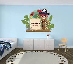 Amazon Com Pirate Adventure Custom Name Nursery Wall Decal For Baby Room Decorations Mural Wall Decal Sticker For Home Children S Bedroom Mm81 Wide 22 X 16 Height Home Kitchen