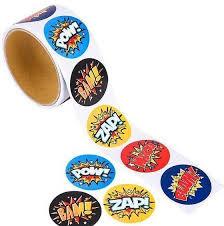 Super Hero Stickers Party Favors Teacher Supply Smash Boom Pow Bam Whack For Sale Online Ebay