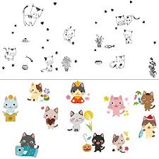 Adam Victor 2 Pcs Removable Creative 3d Diy Cute Cartoon Black Cats And Colorful Cat Totoro Wall Decals Kids Room Decorations Art Decor Stickers Nursery 3d Pvc Decal Bedroom Window Sticker