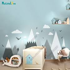 Best Promo C937 Big Baby Room Decal Adventure Theme Decor Huge Mountain Cloud Bird Nursery Kid Room Removable Vinyl Wall Sticker Jw373 Cicig Co