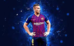 تحميل خلفيات آرثر 4k الفن التجريدي كرة القدم برشلونة الدوري