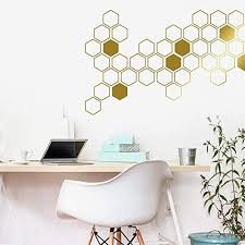 Amazon Com Honeycomb Wall Decals Geometric Wall Decals Gold Vinyl Decals Honeycomb Decal Vinyl Wall Decals Living Room Decals Wall Sticker Ga46 Handmade
