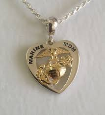 marine mom heart with gold ega by