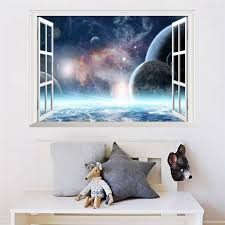 3d Effect Galaxy Wall Sticker Outer Space Planet Stickers Wallpaper 3d Window Scenery Wall Decals For Living Room Home Decor Wall Decals Window Scenerysticker Wallpaper Aliexpress