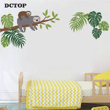 Sloth Tree Branch Wall Stickers Nature Tropical Palm Leaf Wall Art Sloth Decals For Kids Baby Room Living Room Home Decor Mural Wallcorners Art Canvas