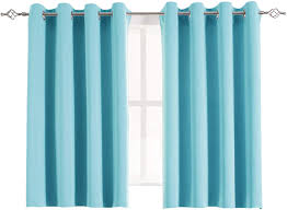 Amazon Com Aquazolax Grommet Blackout Curtains For Kids Room Elegant Blackout Thermal Window Treatment Curtain Panels For Bedroom 2 Panels 54 X 45 Inch Turquoise Home Kitchen