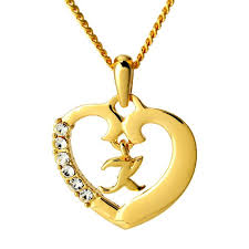 heart pendant k 18k gold plated