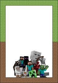 Marcos Invitaciones Tarjetas O Etiquetas De Minecraft Para