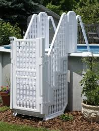 Above Ground Pool With Gates Large Above Ground Kid Safe Swimming Pool Steps Ladder W Gate Amp Above Ground Pool Steps Pool Steps Swimming Pool Steps