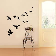 Group Of Birds Wall Sticker Black Carved Pvc Living Room Sofa Tv Background Decoration Mural Decals Art Stickers Wallpaper Leather Bag