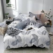 2019 white feather printed bedding set