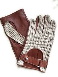 brown leather and crochet gloves