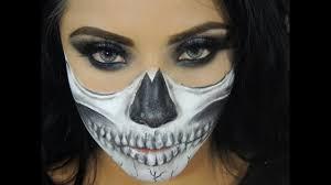 easy half skeleton face makeup tutorial