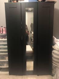 ikea brimnes black mirror wardrobe