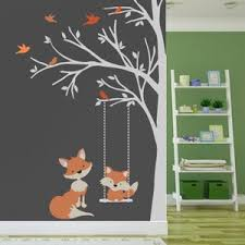 1 Corner Trees Wall Decal Nursery Decor Fox Decal Swinging Etsy