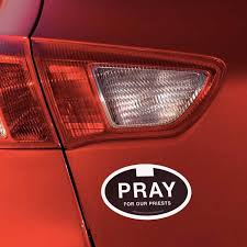 Pray For Our Priest Euro Car Decal 5 X 3 Unique Catholic Gifts