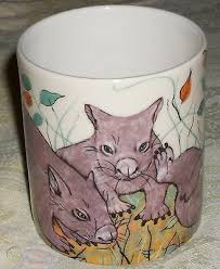 PRISCILLA PARKER WILY WOMBATS COFFEE CUP MUG AUSTRALIAN WILDLIFE COLLECTION  | #524118140