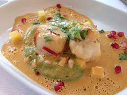 Monk Fish in Lobster Cream sauce ...