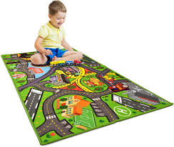 Amazon Com Car Rug Play Mat Kids Carpet Playmat Road Rug For Toy Cars Large 60 X 32 Toy Car Rug For City Life Road Traffic Educational Learn Have