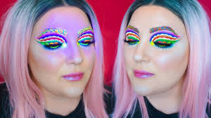 neon rave blacklight party makeup