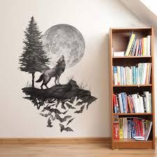 Amazon Com Runtoo Wolf Wall Decals Moon Wall Art Stickers Bedroom Living Room Kids Nursery Black Wall Decor Home Kitchen
