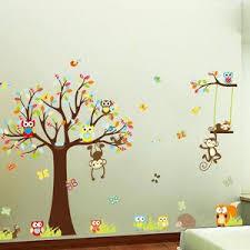 Monkey And Owl Nursery Wall Decals Ellaseal