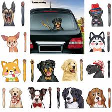 New Cute Cartoon Dog Car Sticker Waving Wiper Decals Car Styling Funny Moving Paw Rear Windshield Window Wiper Stickers For Car Aliexpress