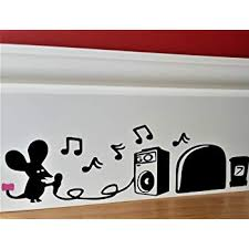 Cartoon Decal Mouse Hole Wall Sticker Cinderella Mice Skirting Board Wall Art Sticker Vinyl Decal 19cm X 6cm Wall Stickers Murals Black With Pink Bow Uksellingsuppliers Konozsigns Com