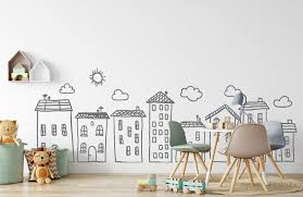 Doodle City Wall Art Decals For Kids Room Playroom Preschool Etsy In 2020 Baby Nursery Wall Art Kid Room Decor City Wall Art