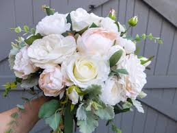 blush pink silk wedding bouquet made