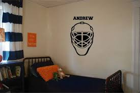 Hockey Goalie Mask Wall Decal With Custom Name By Identitygraphics Goalie Mask Wall Decals Hockey Goalie