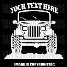 Jeep Yj Wrangler 4x4 Personalized Vinyl Decal Or025