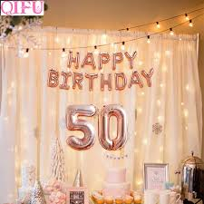 Qifu 50 Years Birthday Party Decorations Adult Happy 50th Birthday Decor Rose Gold Balloons Birthday 50 Female Birthday Decor Aliexpress