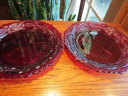 ruby red glass dessert salad plates