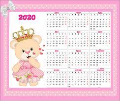 Calendario Gratis Osita Con Corona 2020 En 2020 Calendario Gratis Calendario Infantil Calendario Para Imprimir Gratis