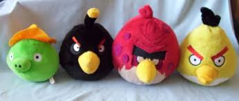 ANGRY BIRDS plush lot X8 Black Yellow Red Blue White Pig stuffed animals  big/sm