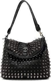 studded skull shoulder bag for women