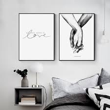 Modern Couples Sweet Love Abstract Canvas Paintings Sketch Poster And Print Wall Art Pictures For Bedroom Wedding Decoration Wallcorners Art Canvas