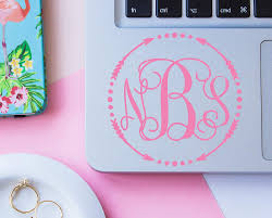 Amazon Com Vine Monogram Laptop Decal Arrow Monogram Sticker For Computer Your Choice Of Size And Color Handmade