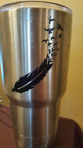 Check Out This Item In My Etsy Shop Https Www Etsy Com Listing 257814365 Feather Into Birds Yeti Decal Yeti Decals Yeti Cup Stickers Tumbler Decal