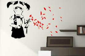 Banksy Wall Sticker Gas Mask Girl Vinyl Decal Wall Transfer Tattoo Removable Art Ebay