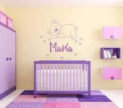 Maria Girl Name Bear Stars Good Night Nursery Kids Room Wall Etsy