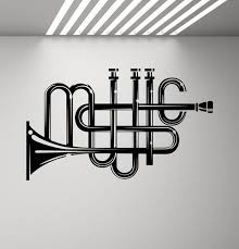 Music Wall Decal Trumpet Decor Sign Music Lover Gift Poster Etsy
