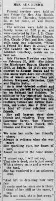 1932 Ada Hawkins Busick Obit. The Laclede County Republican, Lebanon, MO.  30 Sep 1932, Friday - Newspapers.com